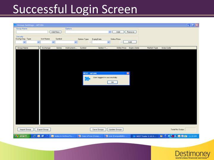 Successful Login Screen