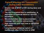 factors affecting hiv transmission during labor and delivery