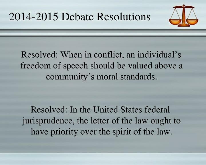 2014-2015 Debate Resolutions