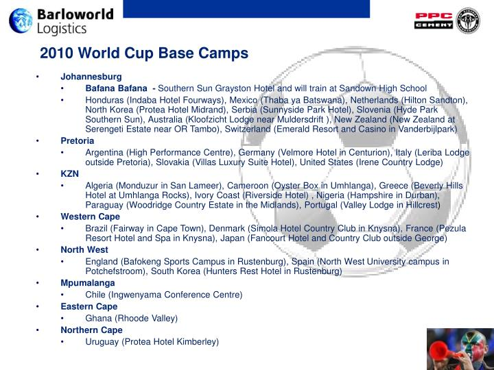 2010 World Cup Base Camps