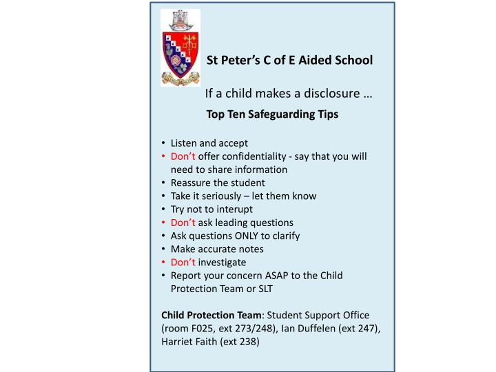St Peter's C of E Aided School