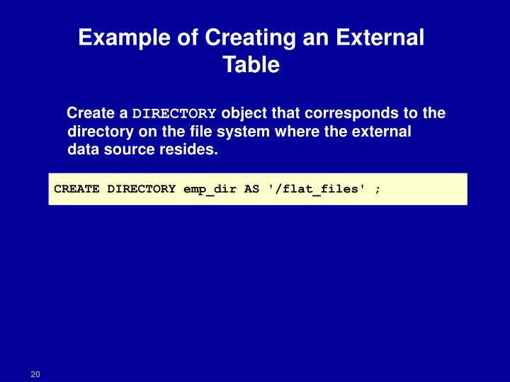 Example of Creating an External Table