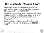 the impetus for staying alive