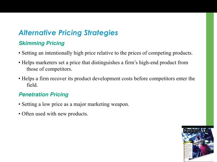 Alternative Pricing Strategies