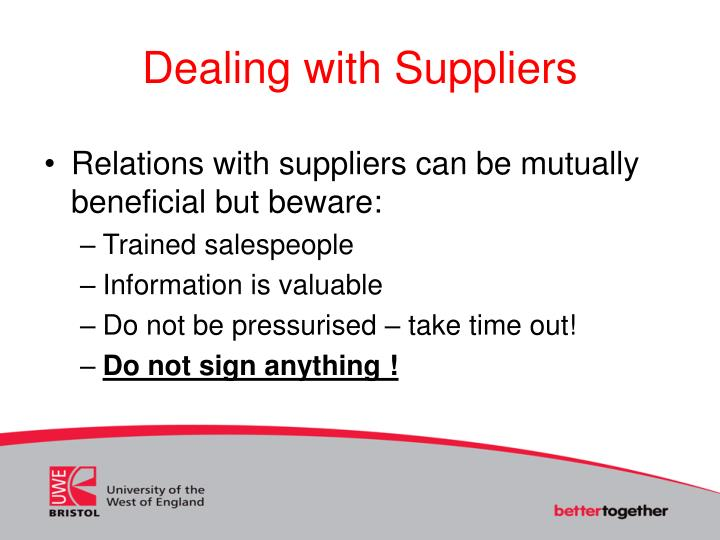 Dealing with Suppliers