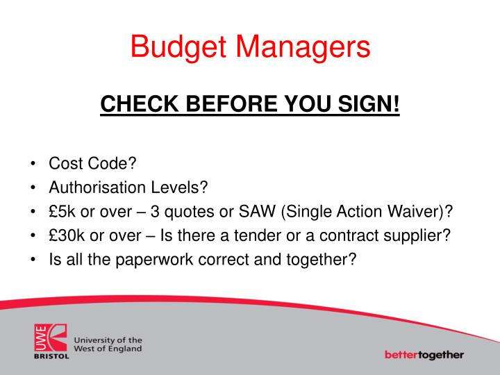 Budget Managers
