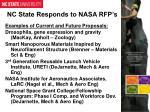 nc state responds to nasa rfp s