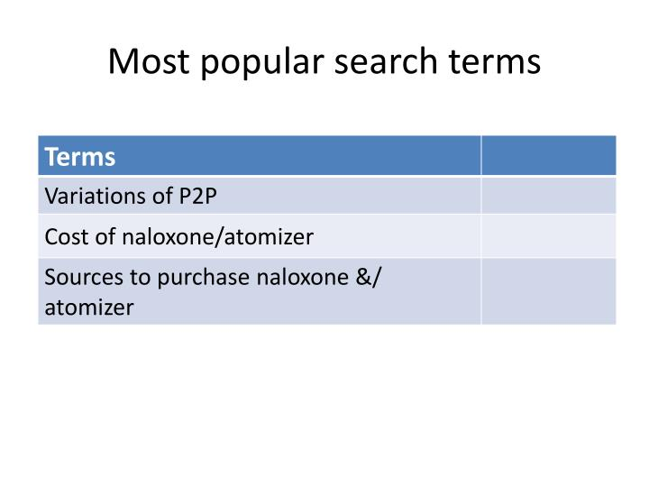 Most popular search terms