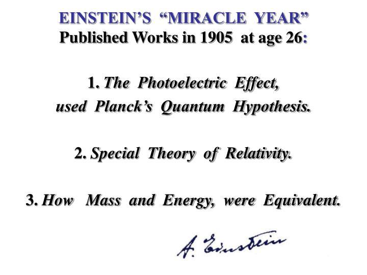 """EINSTEIN'S  """"MIRACLE  YEAR"""""""