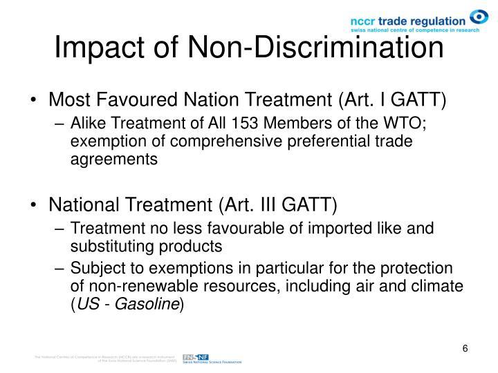 non discrimination gatt law A gatt article iii:4 in the gatt a violation of article iii:4  in regulatory barriers and the principle of non-discrimination in world trade law 13, 41.