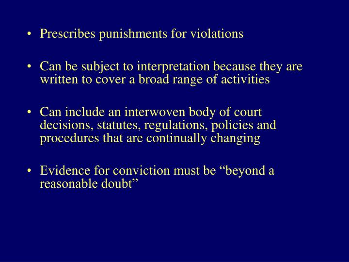 Prescribes punishments for violations