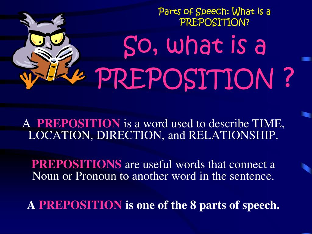 Preposition In Learn In Marathi All Complate: Parts Of Speech: What Is A PREPOSITION? PowerPoint