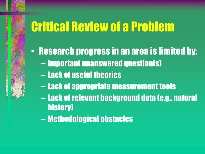Critical Review of a Problem