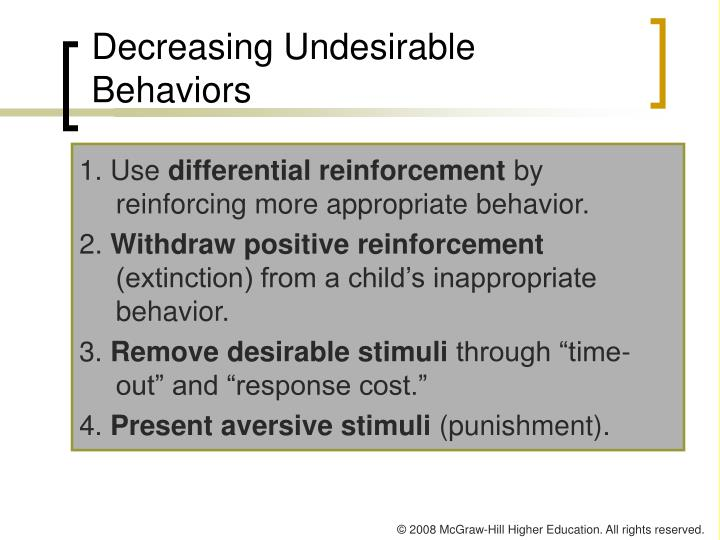 Decreasing Undesirable Behaviors