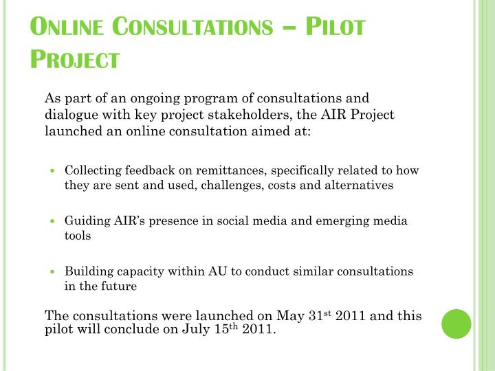 Online consultations pilot project