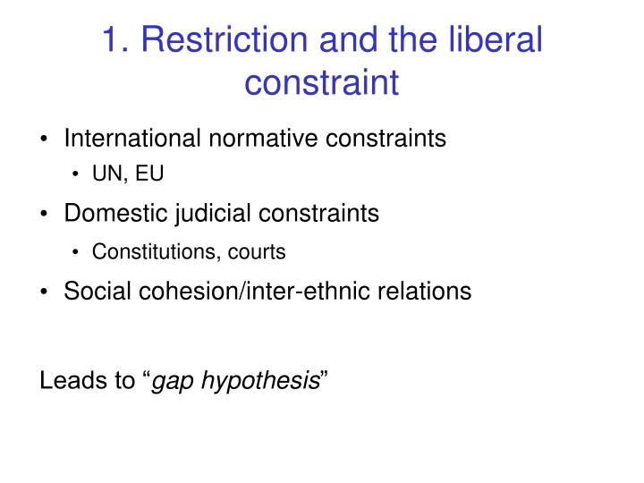 1. Restriction and the liberal constraint
