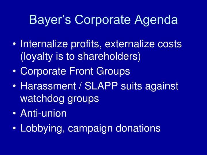 Bayer's Corporate Agenda