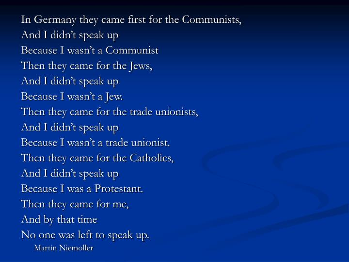 In Germany they came first for the Communists,