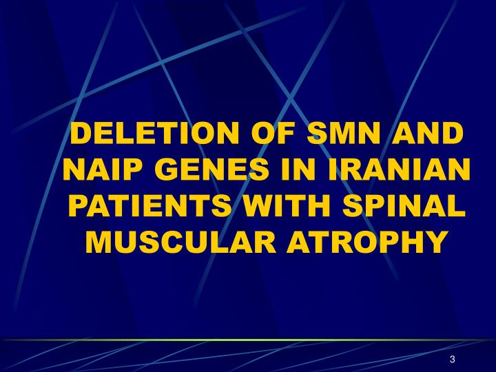Deletion of smn and naip genes in iranian patients with spinal muscular atrophy