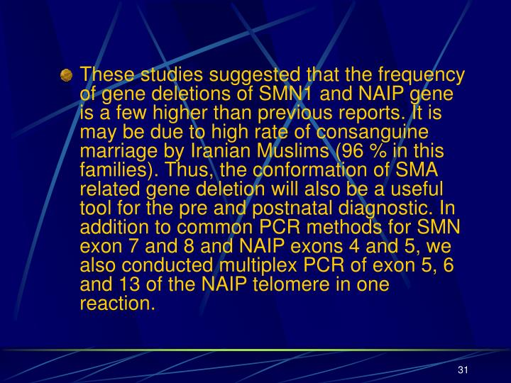 These studies suggested that the frequency of gene deletions of SMN1 and NAIP gene is a few higher than previous reports. It is may be due to high rate of consanguine marriage by Iranian Muslims (96 % in this families). Thus, the conformation of SMA related gene deletion will also be a useful tool for the pre and postnatal diagnostic. In addition to common PCR methods for SMN exon 7 and 8 and NAIP exons 4 and 5, we also conducted multiplex PCR of exon 5, 6 and 13 of the NAIP telomere in one reaction.
