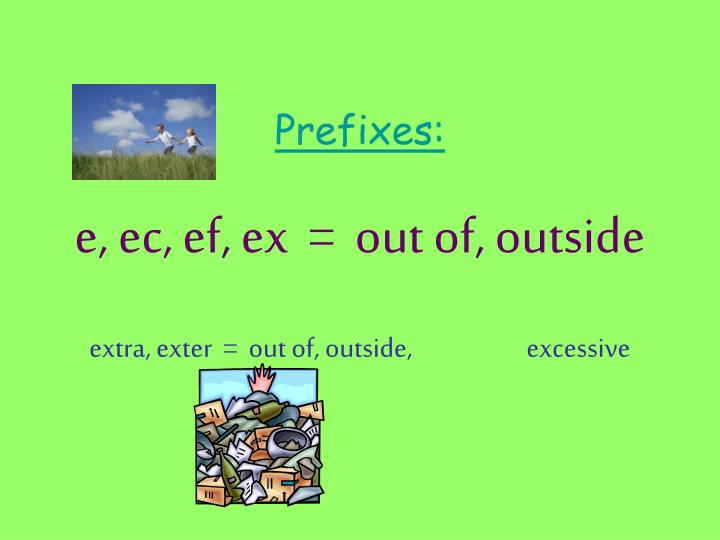 prefixes e ec ef ex out of outside extra exter out of outside excessive n.