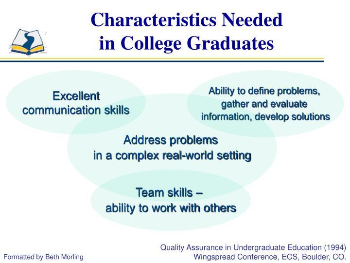 Characteristics needed in college graduates