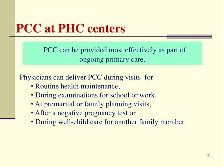 PCC at PHC centers