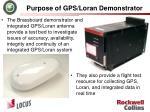 purpose of gps loran demonstrator