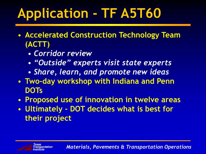Application - TF A5T60