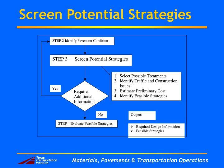 Screen Potential Strategies