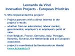 leonardo da vinci innovation projects european priorities4
