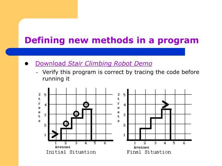 Defining new methods in a program
