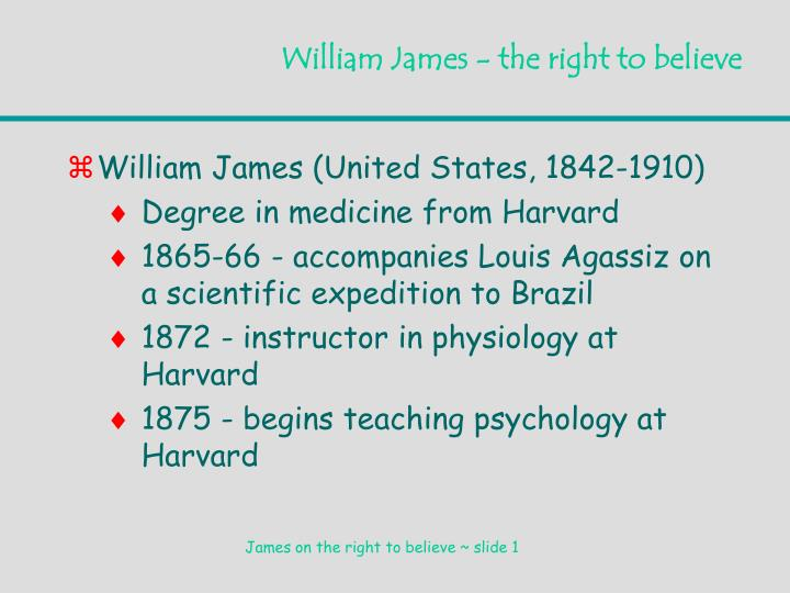 william james the right to believe n.