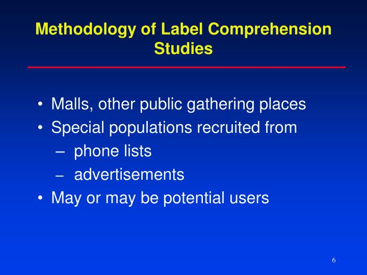 Methodology of Label Comprehension
