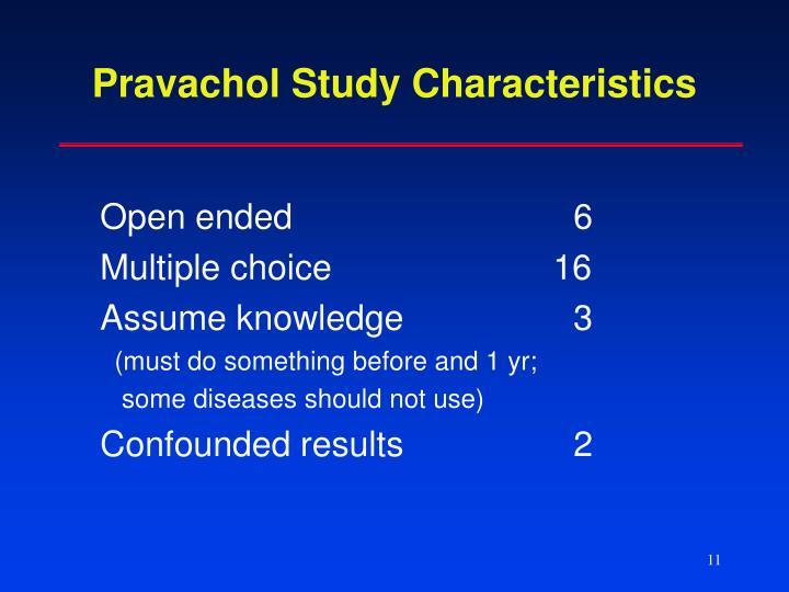 Pravachol Study Characteristics