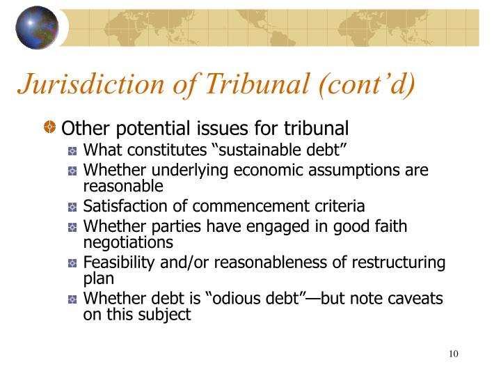 Jurisdiction of Tribunal (cont'd)