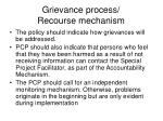 grievance process recourse mechanism