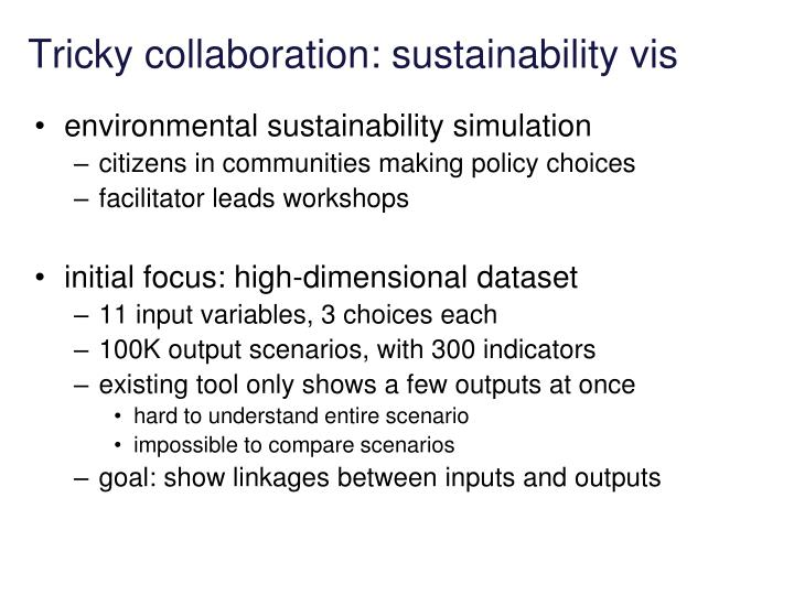 Tricky collaboration: sustainability vis