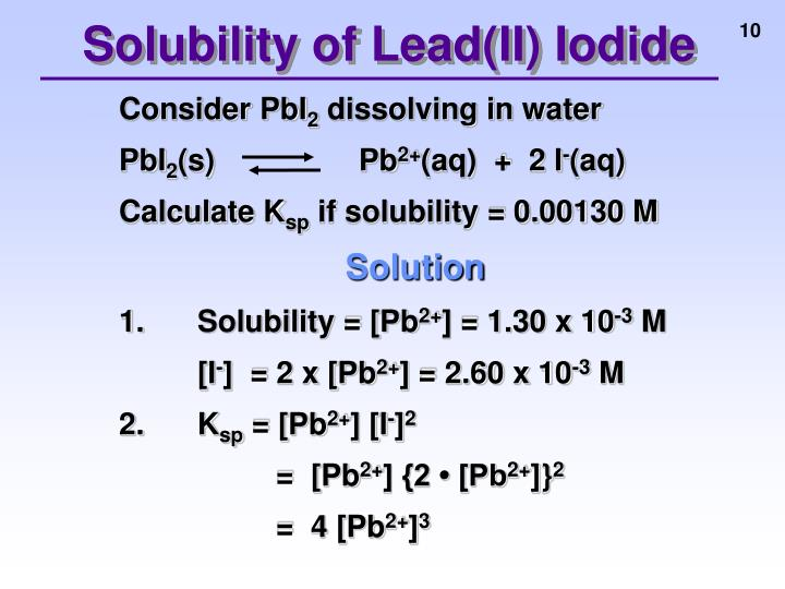Solubility of Lead(II) Iodide