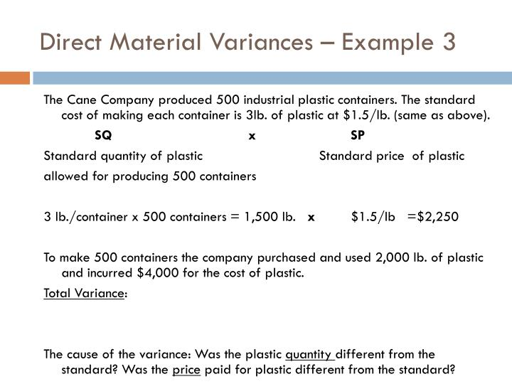 Direct Material Variances – Example 3