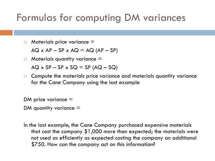 Formulas for computing DM variances