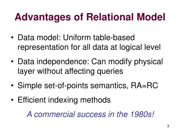 Advantages of relational model