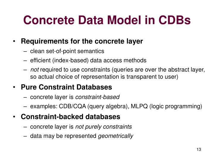 Concrete Data Model in CDBs
