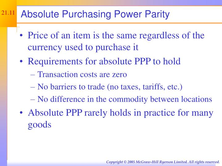 Absolute Purchasing Power Parity