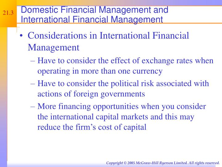 Domestic Financial Management and