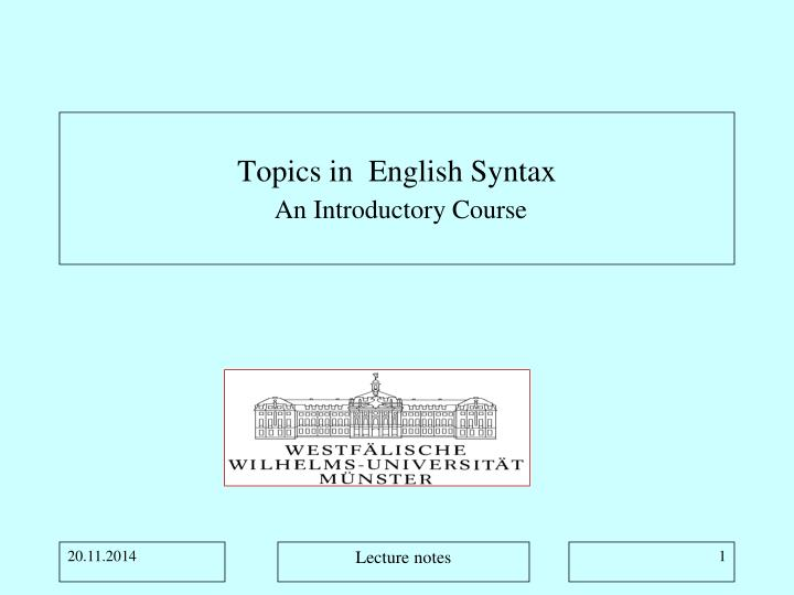 topics in english syntax an introductory course n.