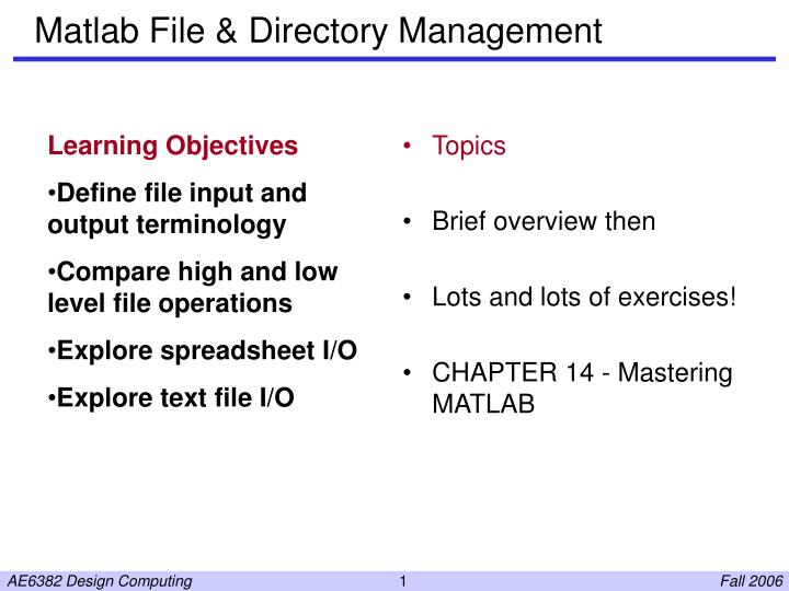 PPT - Matlab File & Directory Management PowerPoint