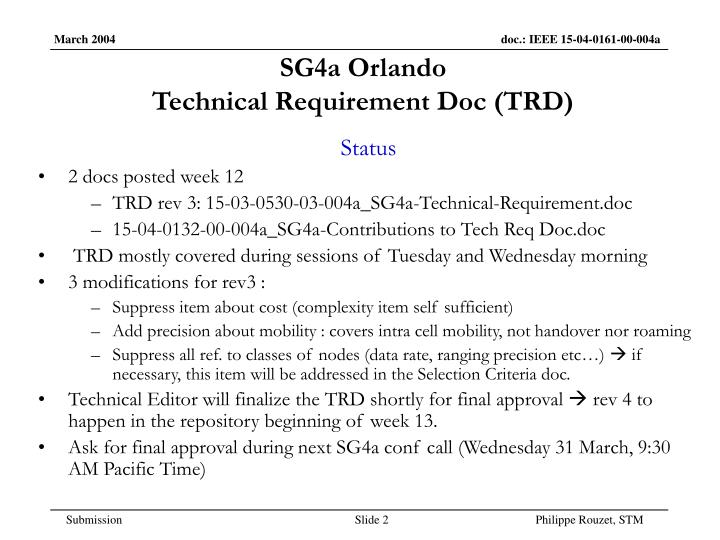 Sg4a orlando technical requirement doc trd