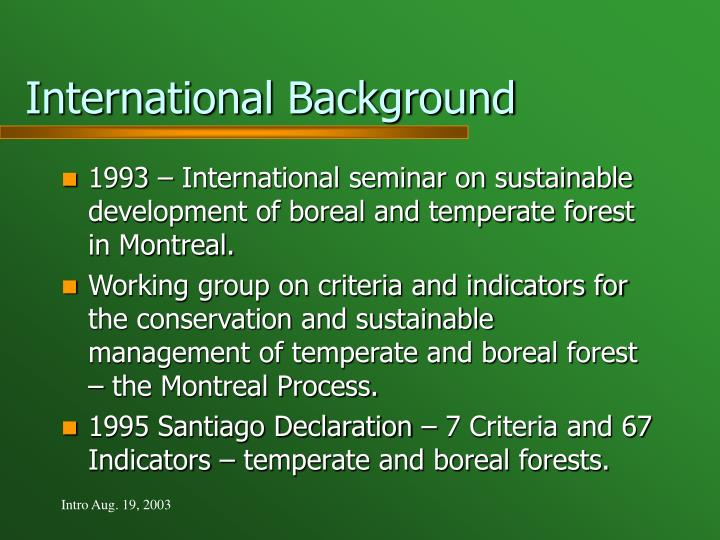 International Background