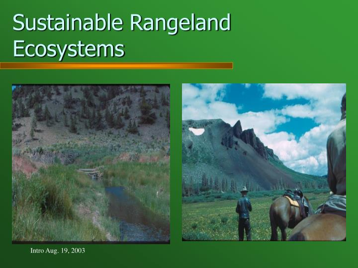 Sustainable Rangeland Ecosystems
